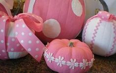 Pink & white pumpkins - Perfect since October is Breast Cancer Awareness Month!