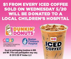 $1 from every iced coffee sold on Wednesday 5/20 will be donated to a local children's hospital.