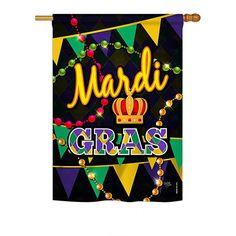 Time To Mardi Gras House Flag