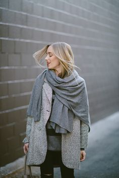 Grey Jacket and Pashmina; Fall Street Style