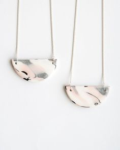 Half moon necklace / Polymer clay necklace / White, shimmery gray and blush necklace / Pastel necklace