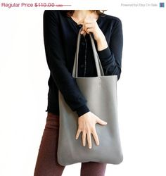 to make for me of coursea (: GREY Leather bag women tote bag by Leah Lerner by LeahLerner