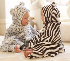 Animal Print Nursery Bath Wraps #PotteryBarnKids - loving our snow leopard! great for baby showers