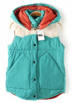 Green Plain Hooded Band Collar Cotton Blend Vest