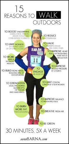 15 REASONS TO WALK OUTDOORS. Health benefits of walking.