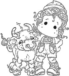 Tilda with Nestor the Bull. Pattern Coloring Pages, Coloring Book Pages, Coloring Sheets, Coloring Pages For Kids, Magnolia Colors, Anime Character Drawing, Outline Drawings, Cartoon Pics, Tampons