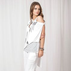 Angels Never Die Asymmetrical Layered Top White