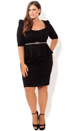 Plus size leather peplum dress - http://pluslook.eu/fashion/plus-size-leather-peplum-dress.html. #dress #woman #plussize #dresses