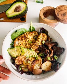 Grilled BBQ Chicken, Pan Fried Potatoes & Roasted Oyster Mushrooms - Rachael's Good Eats