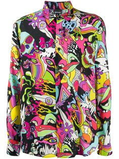 Multicoloured abstract print shirt from Just Cavalli featuring a multicoloured print, an abstract pattern, a pointed collar, long sleeves and a front button fastening. Scene Outfits, Indie Outfits, Cool Outfits, Oversized Tshirt Outfit, Camisa Vintage, Rock Style Men, Just Cavalli, Hot Topic Clothes, Crop Top Dress