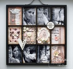 Printers tray for cards and pictures. Love the idea of using printers tray to display my cards.