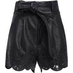 Marissa Webb Jane Leather Shorts ($500) ❤ liked on Polyvore featuring shorts, black, mini shorts, high-rise shorts, high-waisted shorts, leather mini shorts and high rise shorts
