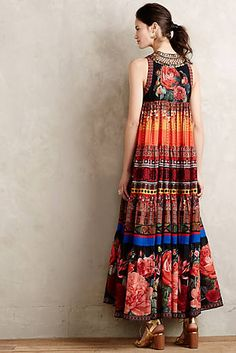 Anthropologie New Enak Tiered Maxi Dress Size 4 Casual Day Dresses, Winter Dresses, Dress Outfits, Fashion Dresses, Summer Dresses, Fashion Fabric, Boho Fashion, Travel Dress, Travel Outfits