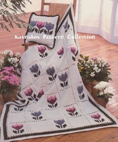 Vintage 1980s Crochet Tulip Patch Afghan and Pillow, Crochet PDF Pattern by KatnaboxCrochet on Etsy https://www.etsy.com/au/listing/286044241/vintage-1980s-crochet-tulip-patch-afghan