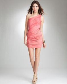 bebe Knitted Shoulder Shirred Dress in sugar coral: front
