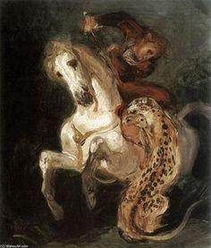Jaguar Attaquer un Horseman - (Eugène Delacroix)
