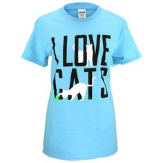 With white cat silhouettes against bold black text and a colorful background, this T-shirt is a playful way to praise your pet.