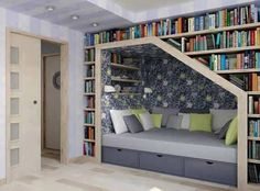 Love the reading nook... Maybe even the one large enough to house a guest bed?