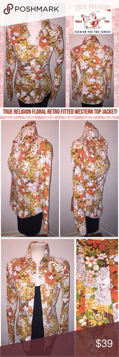 """True Religion Boho Floral Retro Western Top Jacket True Religion Floral Retro Fitted Western Top Jacket! Features: 100% authentic, retro Floral / western design, 2 front pockets, snap button front, 3 snap cuffs, """"pearl"""" snaps & pointed collar. Size S. Measures: 17"""" chest (across), 14.5"""" sh to sh, 20.5"""" pit to sleeve, 30"""" side of neck to sleeve, 26.5"""" back length. Top of one button is missing but is not noticeable. No rips, tears, stains or damage. VG condition. Offers welcomed! True Religion…"""