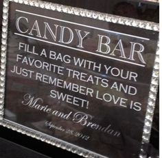 A candy table would be great for younger children and ones with a sweet tooth!                                                                                                                                                                                 More