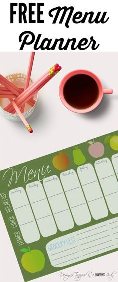 MUST PIN!  Adorable and practical Anthropologie inspired weekly meal planner by Designer Trapped in a Lawyer's Body.