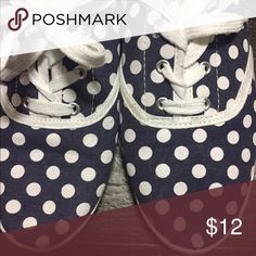Francesca's navy polka dot sneakers Only worn a few times, no stains or marks! Francesca's Collections Shoes Sneakers