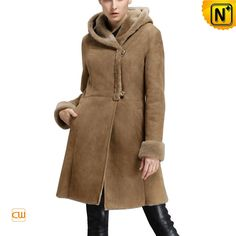 Knee Length Hooded Shearling Coat for Women CW640239 $2015.89 - www.cwmalls.com