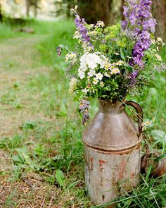 wildflowers + milk jug