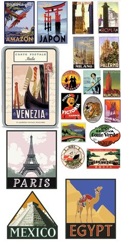 Travel stickers from around the world. via hellotraveler.com, scoutingweb.com, quintamacondalive, flickr.com, doverdesignworks, hp.com, thestickershop.co.uk, flickr.com
