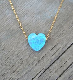 Heart Opal Necklace, Spring Fashion, 14k Gold filled chain, Blue Heart Jewelry, Opal Jewelry, Gift for her by lianie on Etsy