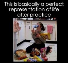 Dance memes- this was me in high school, except it was Doritos, Diet Coke and mashed potatoes after hours of dancing!!