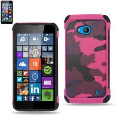 Reiko Design Hybrid Leather Protector Cover Nokia Lumia 640 Lte- Microsoft Lumia 640- Rm-1109 With Camouflage Design Pink