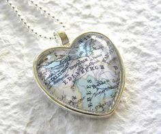 Heart Shaped Map Necklace Syria featuring by TheGreenDaisyShop