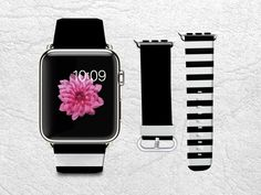 Classic Black & White Stripes Apple Watch Band, Genuine Leather Strap Wrist Band Replacement with Metal Clasp for Apple Watch All Models iWatch Strap Army Watches, Cool Watches, Analog Watches, Wrist Watches, Sport Watches, Apple Tv, Apple Watch Leather Strap, Web Design, 5 Elements