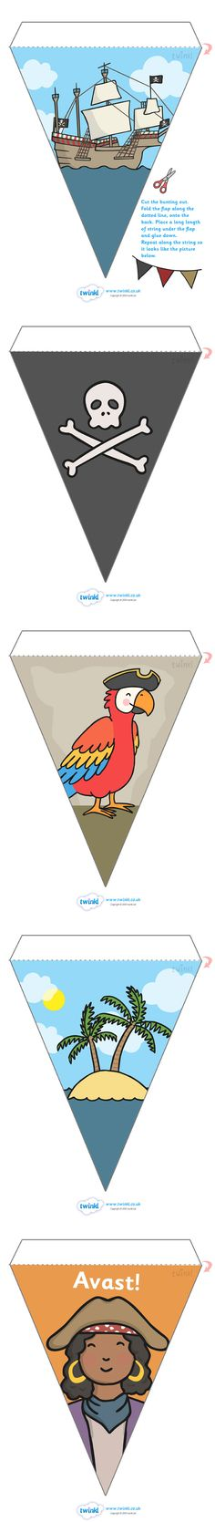 Vlaggen thema piraten Pirate Display Bunting >> Classroom printables for Pre-School Kindergarten Elementary School and beyond! Preschool Pirate Theme, Pirate Activities, Pirate Day, Pirate Birthday, Pirate Crafts, Party Fiesta, Classroom Themes, Preschool Classroom, Classroom Resources