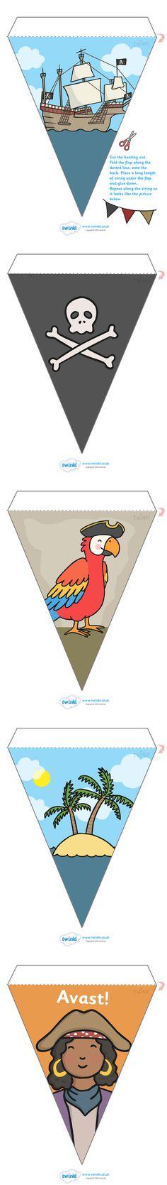 Twinkl Resources >> Pirate Display Bunting  >> Classroom printables for Pre-School, Kindergarten, Elementary School and beyond! Buntings, Display, Pirates, Classroom Decor