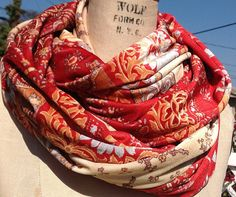 Red and Cream velvet infinity scarf by DeZeStar on Etsy
