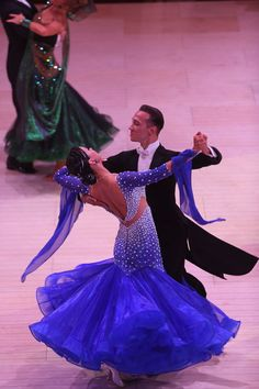 Lovely blue Standard ballroom (Dancesport) dance gown.