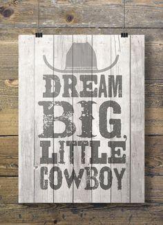 A3/A4 size Dream big little cowboy Printable kids by SouthPacific (Art &…