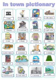 Places in a town pictionary - ESL worksheet by maayyaa Grammar And Vocabulary, Vocabulary Worksheets, Buildings, Presents, English, City, Places, English Language, Blue Prints