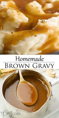 Homemade Brown Gravy, Brown Gravy Recipe Easy, Easy Brown Gravy Recipe Without Drippings, Brown Gravy Recipe Beef Broth, Southern Brown Gravy Recipe, Simple Chicken Gravy Recipe, Quick Gravy Recipe, Perfect Gravy Recipe, White Gravy Recipe