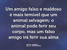 Um amigo falso e maldoso é mais temível que um animal selvagem; o animal pode ferir seu corpo, mas um falso amigo irá ferir sua alma (...) https://www.mundodasmensagens.com/frase/VjNEoZk