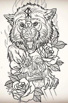 Эскиз тату волка с черепом и розами