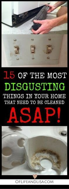 15 disgusting places in your home that you need to clean right away. Check out t… 15 disgusting places in your home that you need to clean right away. Check out this post to learn where and how to find hidden filth. Deep Cleaning Tips, Household Cleaning Tips, Toilet Cleaning, House Cleaning Tips, Natural Cleaning Products, Cleaning Solutions, Spring Cleaning, Cleaning Hacks, Cleaning Items