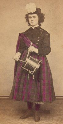 "Uniform: 1865 photo of female ""Daughter of The Regiment"" Vivandiere. These dedicated women would voluntarily travel with a Civil War Regiment and act as Nurse / Mascot for the Unit. Doughty of Winsted, Connecticut."