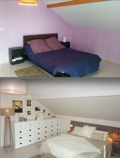 Chambre moderne aux tons naturels avec plafond poutres for Relooking chambre parents