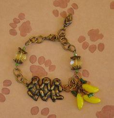 Patina Brass Swarovski Crystal Charm Bracelet - Monkey Business