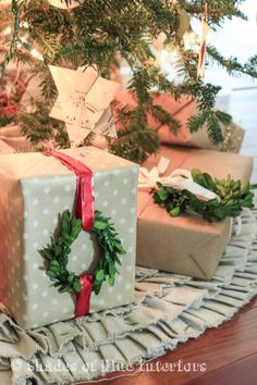 Make a simply wrapped package look much cuter by adding a mini boxwood wreath—you'll have everyone at the family gift swap wishing you were their Secret Santa.  Get the tutorial at Shades of Blue Interiors.