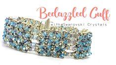 Bedazzled Cuff with Swarovski Crystals - Beading Tutorial Beaded Jewelry, Handmade Jewelry, Handmade Wire, Jewellery, Armband Diy, Beaded Bracelets Tutorial, Beads And Wire, Beading Tutorials, Bracelet Patterns
