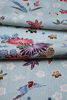 "Long panel Vintage Japanese Kimono Silk FabricLight Grey Field 67/"""